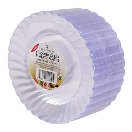clear round plates 50 x 9 set by oasis creations washable