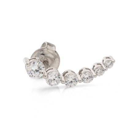 Sterling Silver Single Graduated Cubic Zirconia Earring Crawler