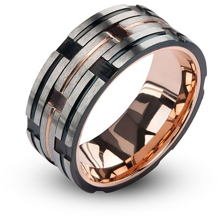 Men's Stainless Steel IP Rose Gold and Black Track Matte and Polished (Rose Gold Ring With Black And White Diamonds)
