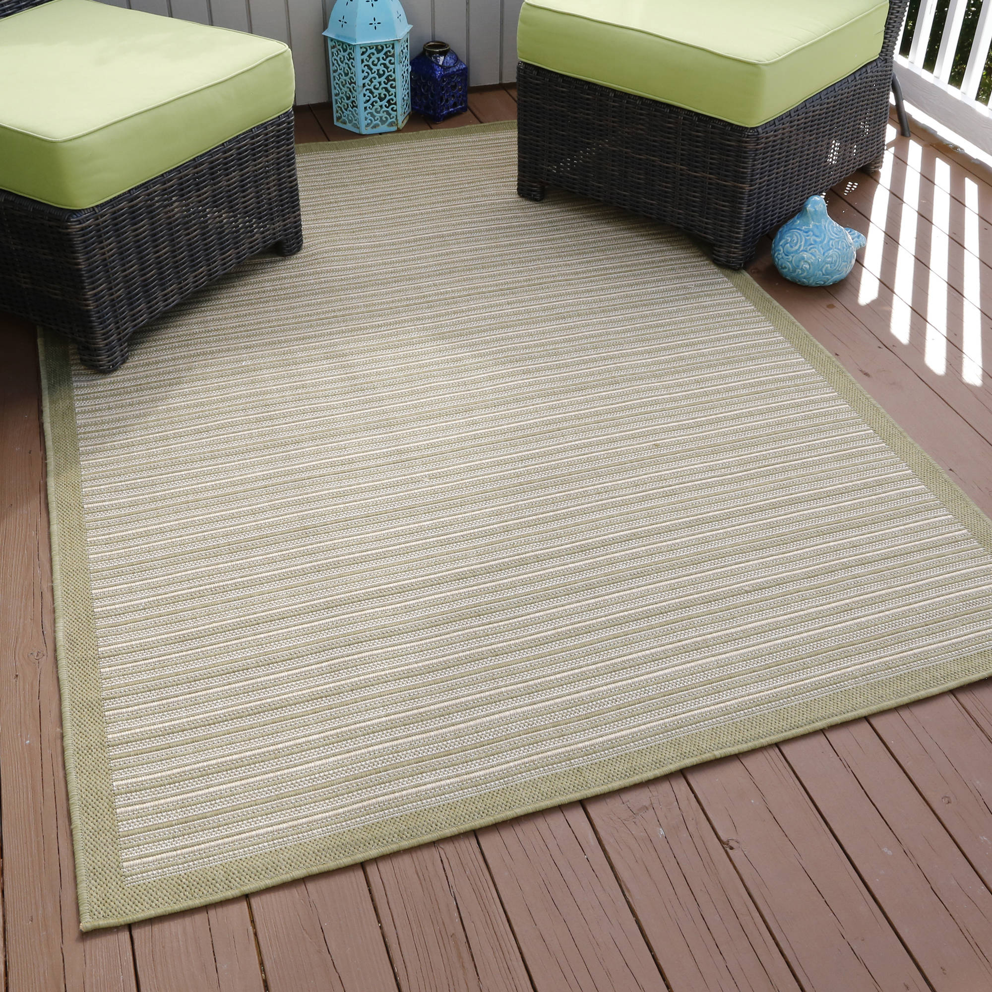 Somerset Home Casual Stripe Indoor/Outdoor Area Rug, Green, 5' x 7'7""