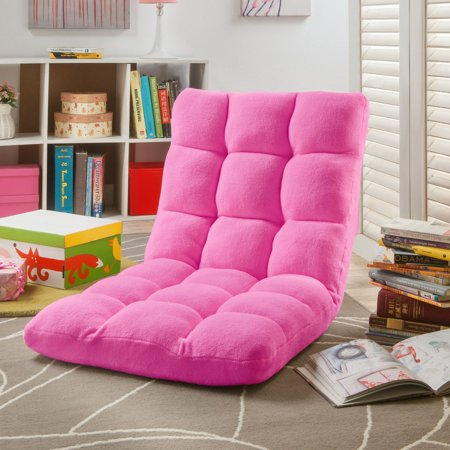 Loungie Microplush Modern Convertible - Pink Kids Chair