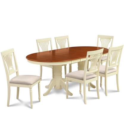 M&D Furniture SOME7-BCH-C 7 Piece dining room set table with a butterfly leaf and 6 dining chairs in Buttermilk & Cherry finish ()