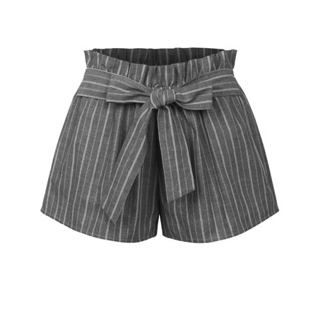 KOGMO Womens Casual Striped Summer Beach Shorts With Self Tie Bow Summer Womens Shorts