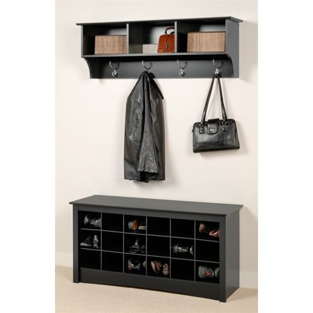Coat And Shoe Storage.Entryway Wall Mount Coat Rack W Shoe Storage Bench In Black