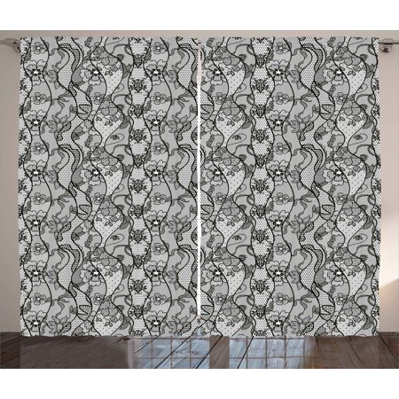Black Lace Curtains (Floral Curtains 2 Panels Set, Lace Gothic Pattern with Flower Effect and Leaves Ornamental Antique Feminine Design, Window Drapes for Living Room Bedroom, 108W X 84L Inches, Grey Black, by)