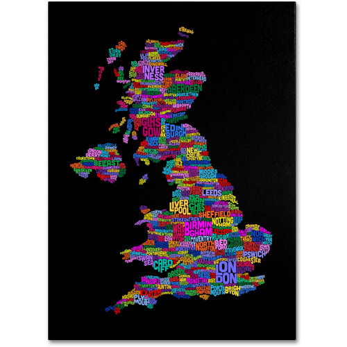Trademark Art 'UK Cities Text Map 5' Canvas Art by Michael Tompsett