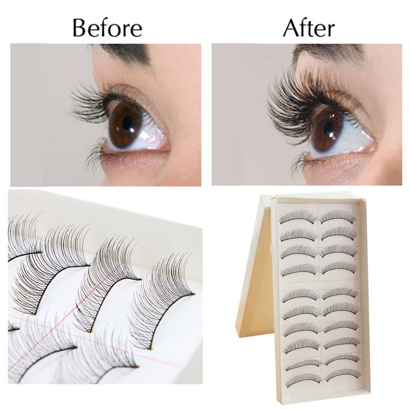 Intbuying 10Pairs Makeup Handmade Natural Fashion Long False Eyelashes Eye Lashes Sparse #241056