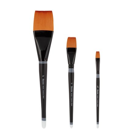 "Beste Watercolor Wash Brush Paintbrush Set of 3 Golden Taklon Hair for Watercolor and Acrylic Paints Includes: Size 2"", Size 1"" & Size 1/2"""