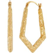 Simply Gold 10kt Yellow Gold Textured Knife Edge Hoop Earrings