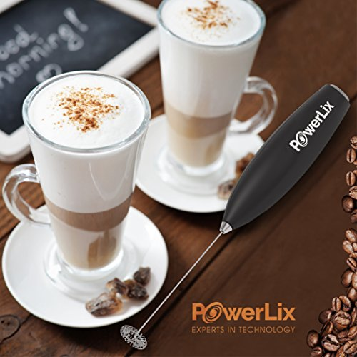 PowerLix Milk Frother Handheld Battery Operated Electric Foam Maker For Coffee Latte Silver Stainless Steel Stand Include Durable Drink Mixer With Stainless Steel Whisk Cappuccino Hot Chocolate