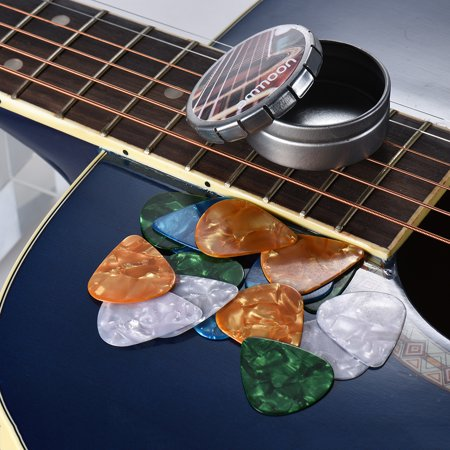 ammoon Guitar Picks 16pcs Celluloid picks 4 Colors 4 Thickness with Metal Storage Box for Acoustic Folk Guitars - image 2 de 3