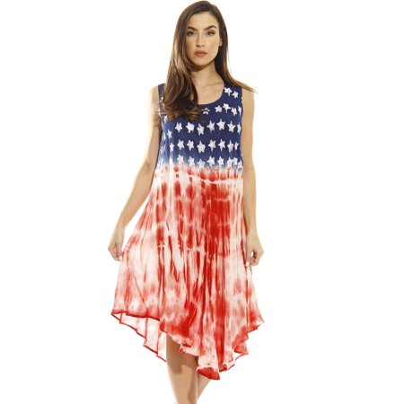 aliexpress good looking entire collection Riviera Sun American Flag Dress / Summer Dresses / Swimsuit Cover Up  (American Flag Tie Dye, Small)