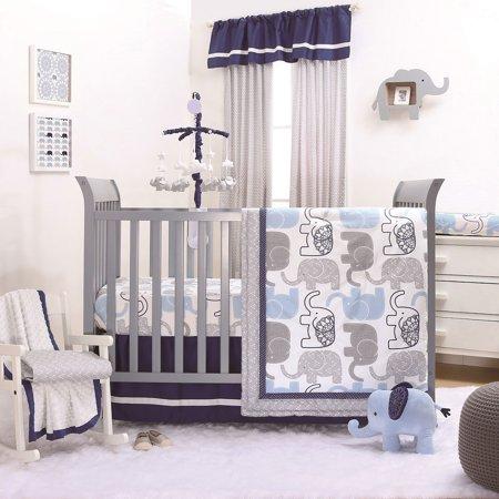 Little Peanut Blue Grey Elephant Crib Bedding 20 Piece