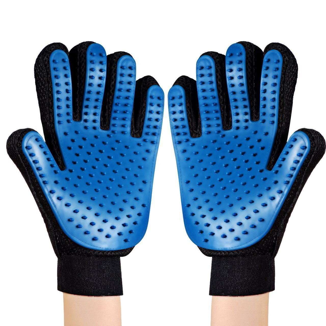1 Pair Pet Grooming Glove, Pet Hair Remover, Deshedding Brush Supplies with Enhanced Five Finger Design, Ideal for Dogs, Cats and Horses with Long and Short Fur