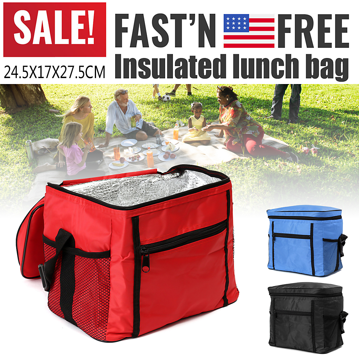 Hot sale!! Oxford Fabric Thermal Cooler Waterproof Insulated Portable Picnic Travel Lunch Ice Food Bag Family Camping Travel or Food Delivery and Takeaway Takeout Box 3 Colors