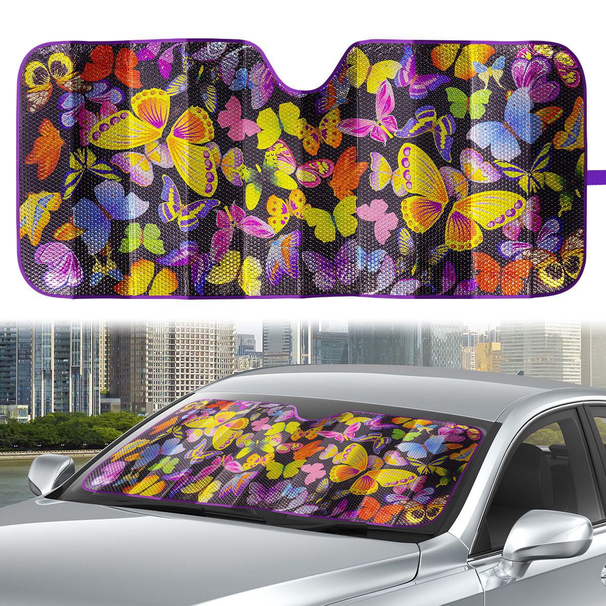 LedBack Car Windshield Sun Shade Purple Crystal Butterfly Pattern Foldable Car Front Window Sunshades for Most Sedan SUV Truck