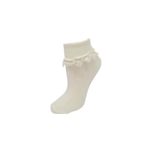 Kbell Youth Lace Socks- 9-11- Ivory Case Of 24