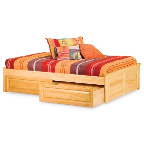 Concord Platform Bed w  2 Raised Panel Footboards-Color:Caramel Latte,Size:Queen by Atlantic Furniture