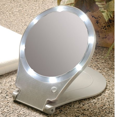 10x Magnification Folding Mirror With Light For Travel