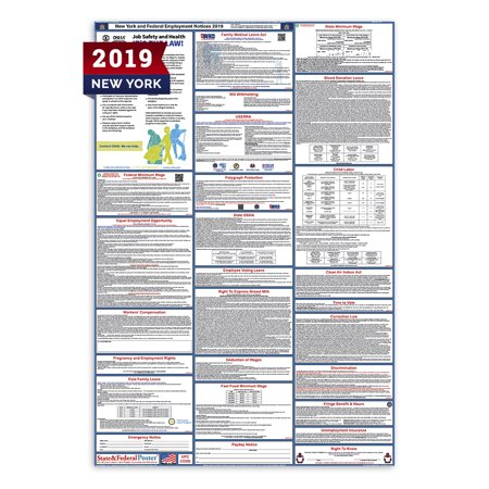 2019 New York  State and Federal Labor Law Poster (Laminated)