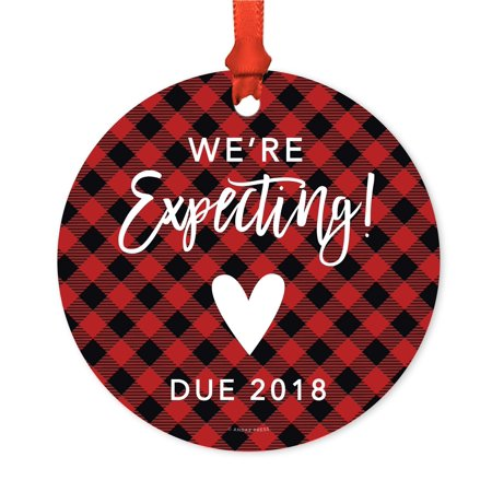 Pregnancy Baby Announcement Metal Christmas Ornament, We're Expecting! Due 2018 Red Plaid, Includes Ribbon and Gift Bag](Halloween Expecting Announcements)