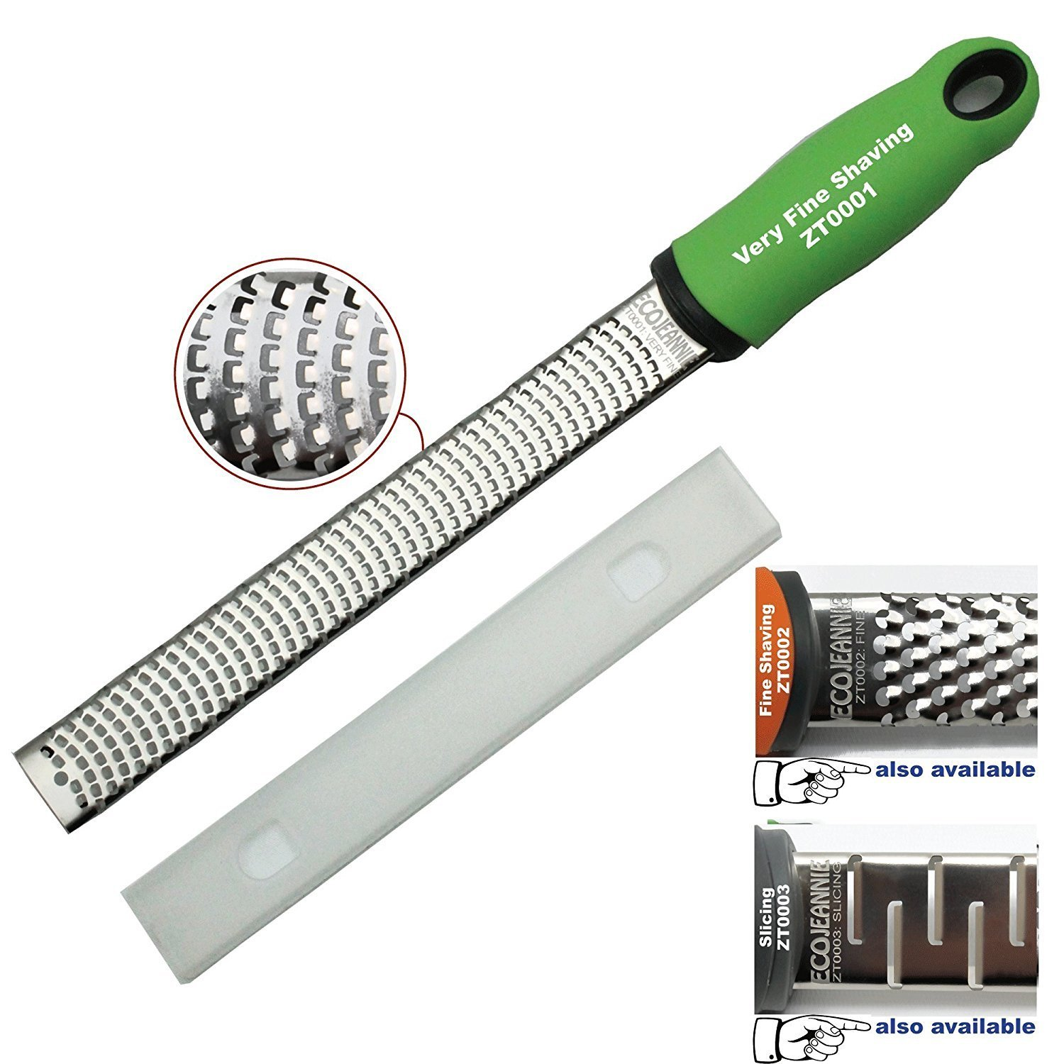 EcoJeannie® Professional Hand Held Cheese Grater Lemon Zester for Very Fine Shavings, Heavy Duty, Commercial Grade, Non-Slip Easy-Grip Handle, Stainless Steel