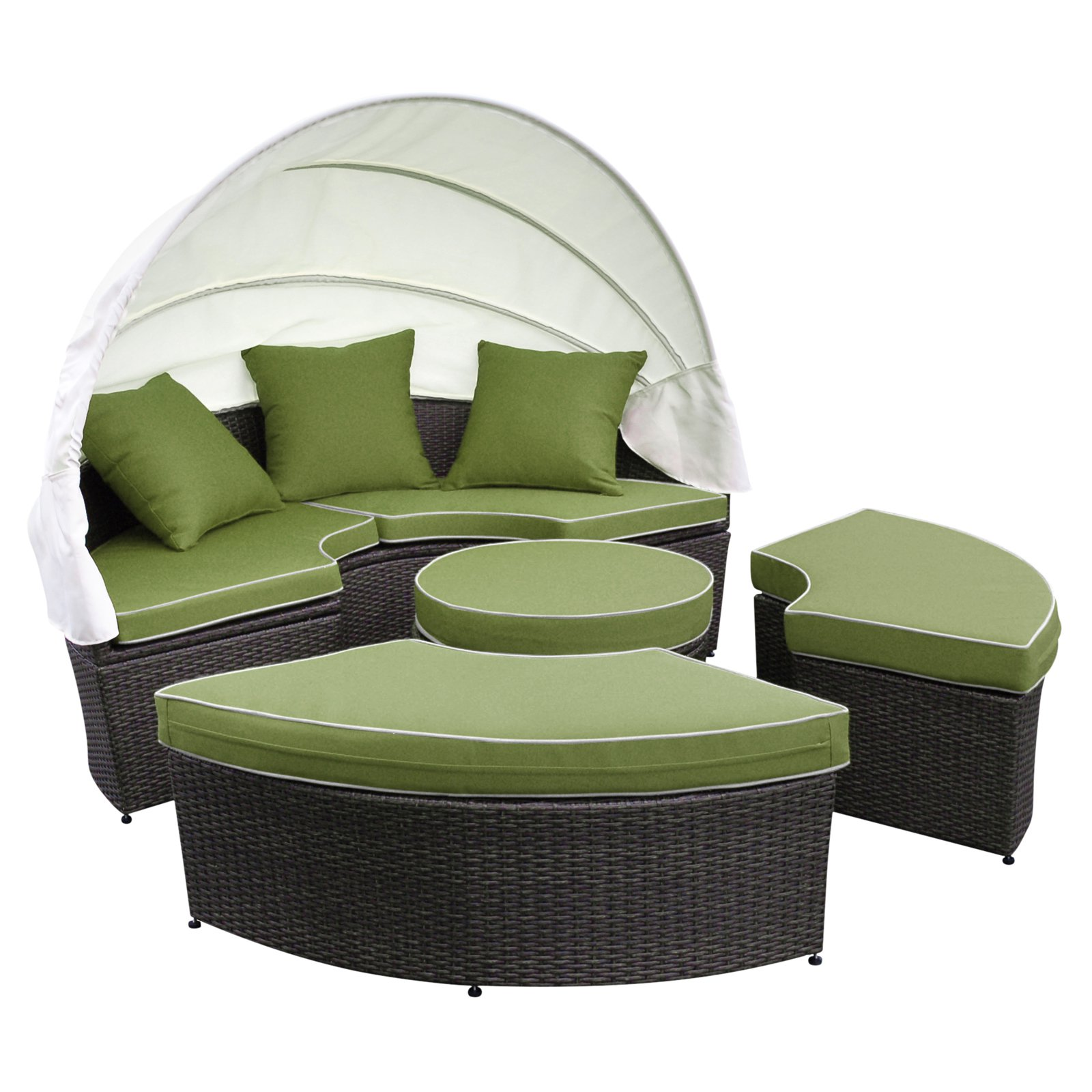 Jeco All-Weather Wicker Sectional Patio Daybed with Cushion