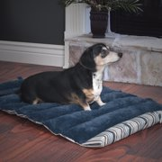 "Portable Dog Bed 24"" x 37"" Roll Up Travel Portable Pet Bed - Blue Stripe"