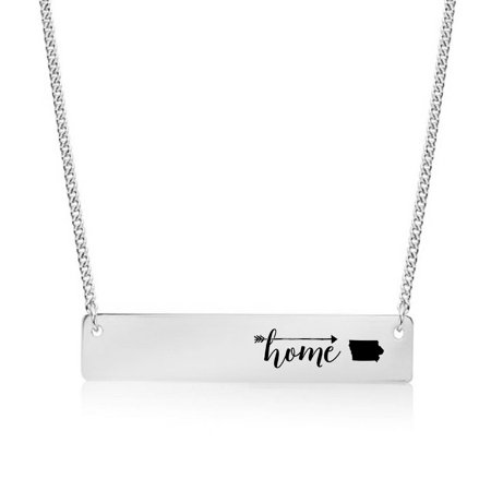 Silver Plated Home is Iowa Bar Necklace (Iowa Hawkeyes Jewelry)