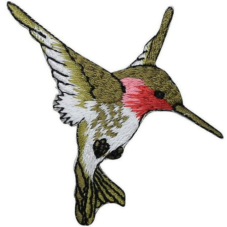 T Birds Patch Grease (Large - Hummingbird - Ruby Red Throat - Facing RIGHT - Iron on Embroidered Applique)