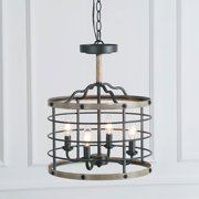LNC Cage Chandeliers for Dining Room, Farmhouse Foyer Pendant Light, 4-Light with Faux Wood Finish