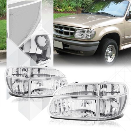 97 Ford Explorer Headlight - Chrome Housing Headlight Clear Turn Signal for 95-01 Ford Explorer/Mountaineer 96 97 98 99 00