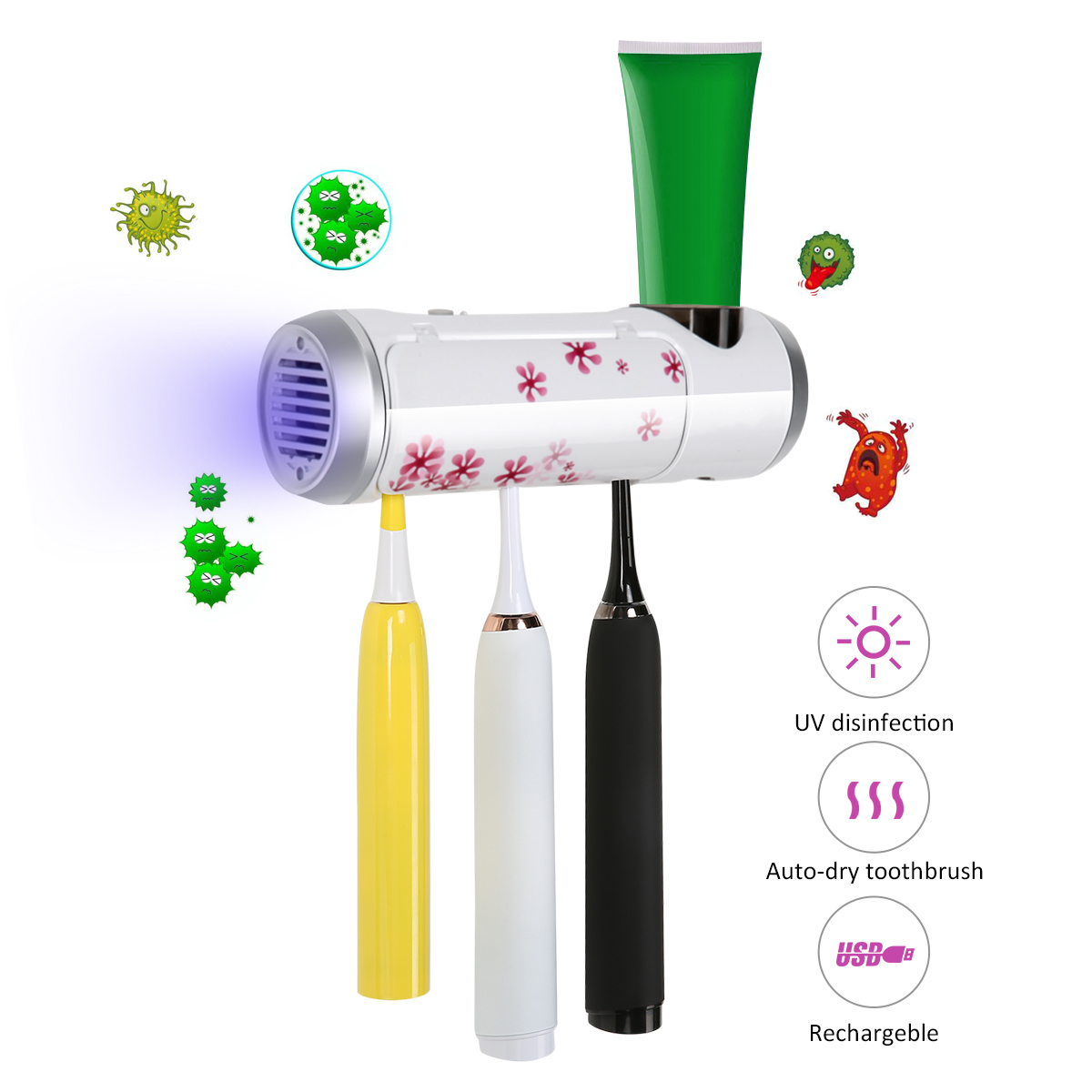 UV Antibacterial Toothbrush Sterilizer Rechargeable Wall Mounted Toothbrush Toothpaste Holder
