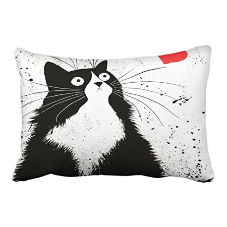 WinHome Cute Cartoon Black Fat Cat And Red Heart White Decorative Pillowcases With Hidden Zipper Decor Cushion Covers Two Side 20x30 inches