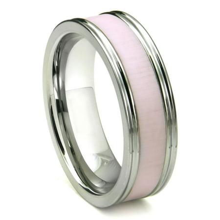 Tungsten Carbide Pink Ceramic Inlay Wedding Band Ring w/ Horizontal Satin Finish Sz