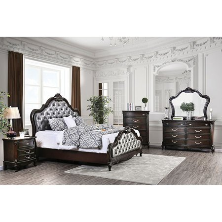 4pc Queen Size Bed Espresso Finish Padded Fabric Bedroom Furniture Set