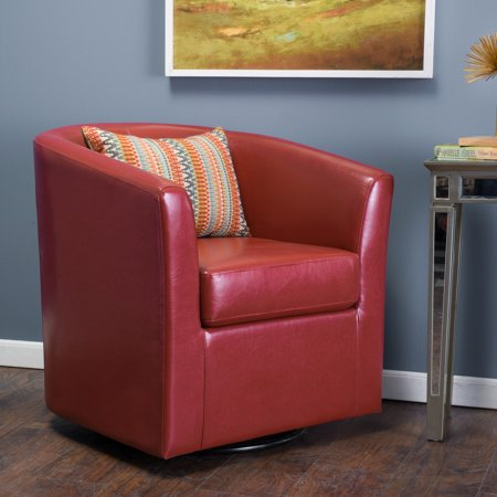 Noble House Damon Red Faux Leather Swivel Club Chair Eco Leather Club Chair