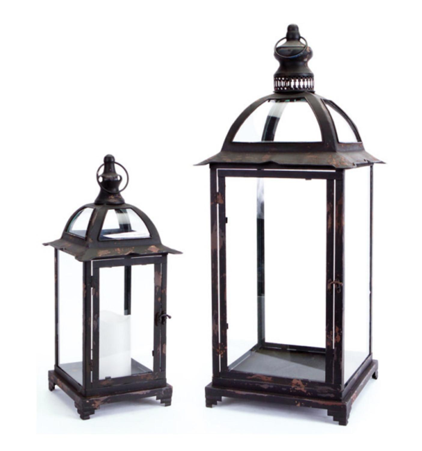 Set of 2 Pagoda Crest Weathered Iron and Glass Pillar Candle Holder Lanterns 26""