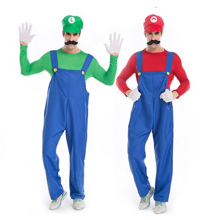 Super Grover Costume Adults (Adult Men's Super Plumber Brothers Game Costume 5 Piece Set (Green,)