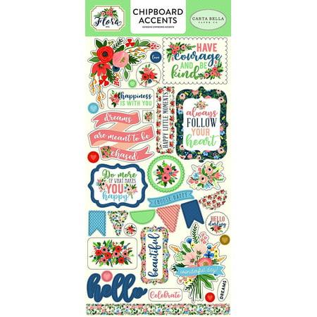 Company Chipboard - Company Flora No.2 6x13 Chipboard Accents, Flora no.2 6x13 chipboard accents By Carta Bella Paper
