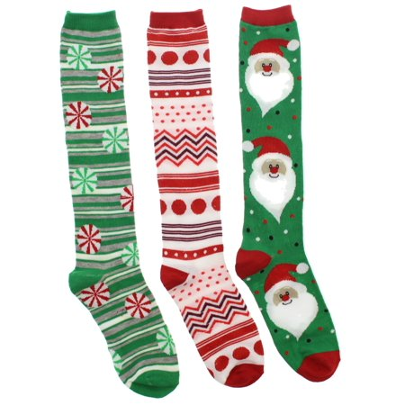 womens christmas knee high socks 3 pr - Walmart Christmas Socks
