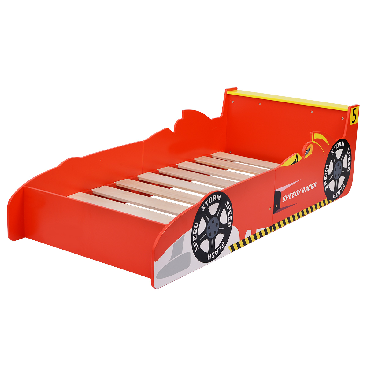Costway New Kids Race Car Bed Toddler Bed Boys Child Furniture Red Wooden    Walmart.com