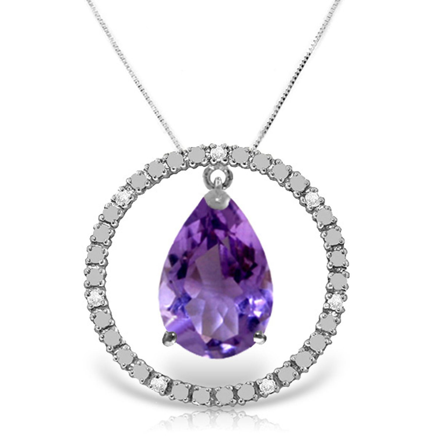 ALARRI 7 Carat 14K Solid Gold Love All Amethyst Necklace with 20 Inch Chain Length