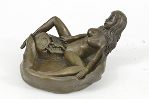 ...Handmade...European Bronze Sculpture Signed Original Collectible Nude Female With Skull Ashtray Sale (1XXNRQ-021)... by