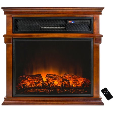 Akdy Fp0059 29 Freestanding Electric Fireplace Heater Stove W Wooden Brown Mantel Remote Control