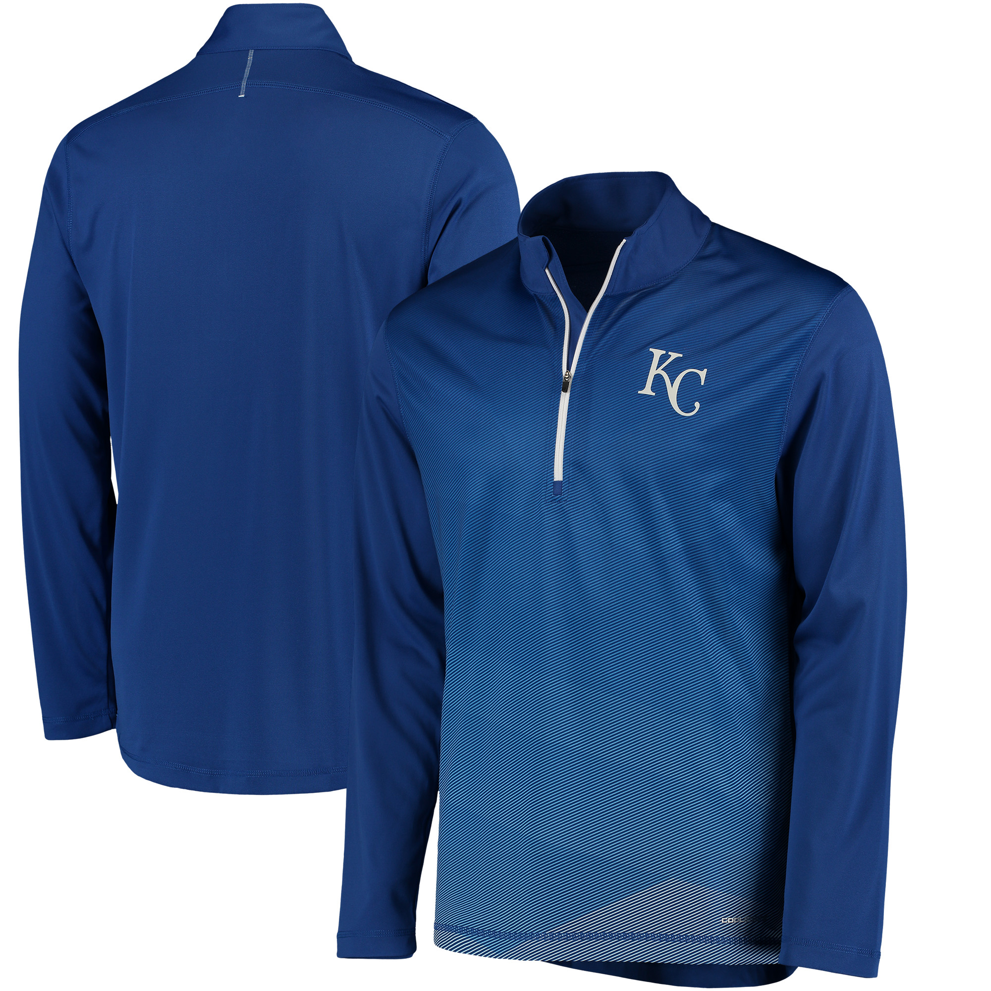 Kansas City Royals Majestic Good and Improved Contrast Zephyr Half-Zip Lightweight Pullover Cool Base Jacket - Heather Royal