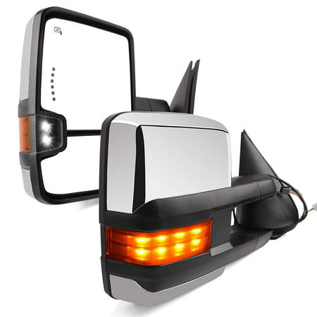 YITAMOTOR Towing Mirrors for 99-02 Chevy Silverado Avalanche GMC Sierra Pair Tow Power Heated LED Signal & Clearance Light Side Mirrors