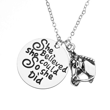 Horse Necklace, Horse She Believed She Could So She Did Jewelry, for Equestrians and Horse Lovers ()
