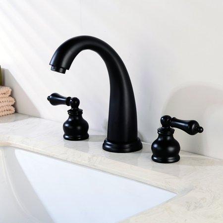 UBesGoo Waterfall 3 Holes Two Handle Widespread Brushed Nickel Bathroom Sink Faucet