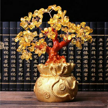 Feng Shui Home Decor Treasure Lucky Tree Citrine Yellow Crystal Gold Gem Shop Money Bag (Feng Shui Gemstones)